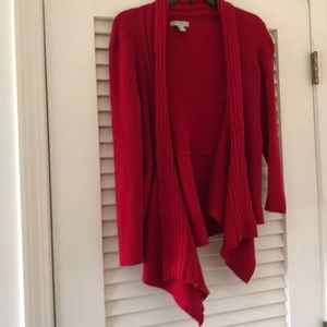 Dana Buchman Sweaters - Cheerful red sweater size L with cascading front.